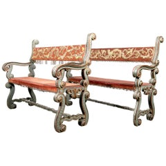 Pair of 18th Century Carved and Painted Baroque Tuscan Arm Benches