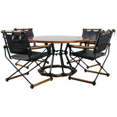 Cleo Baldon Wrought Iron and Oak Dining Table and Four Armchairs, 1960s