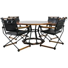 Vintage Mid-Century Wrought Iron and Oak Dining Set by Cleo Baldon