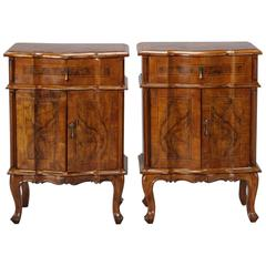 Pair of Italian Walnut Side Cabinets