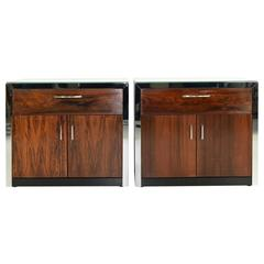 Milo Baughman Rosewood and Chrome Nightstands