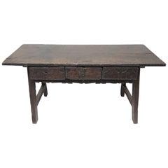 Zeitraum des 17. Jahrhunderts, Spanischer Barocker Kastanien-Tisch auf Gestell