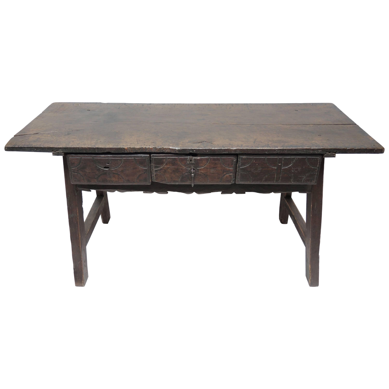 Beautiful Period 17th Century Spanish Baroque Chestnut Trestle Table