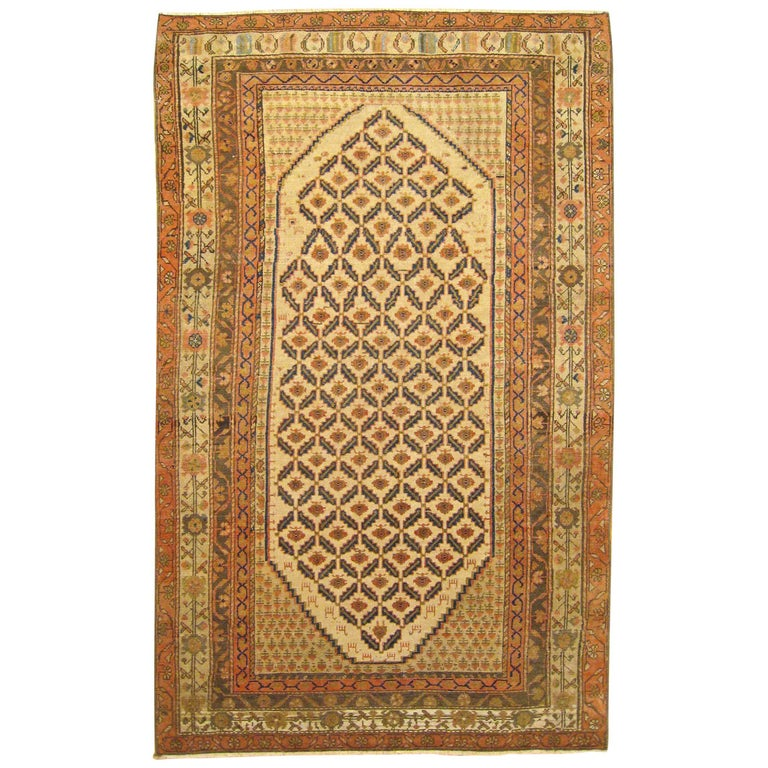 Antique Persian Hamadan Camel Hair Oriental Rug In Small