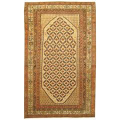 Antique Persian Hamadan Camel Hair Oriental Rug in Small Size with Repeat Design