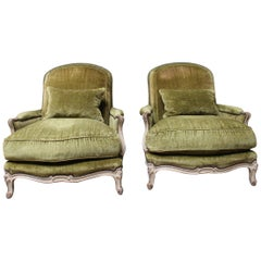 Large Pair of French Louis XV Style Painted Bergeres