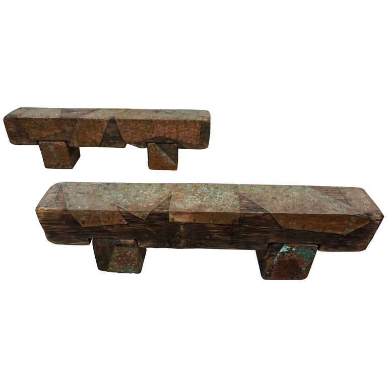 Pair of Brutalist Wood Benches 1