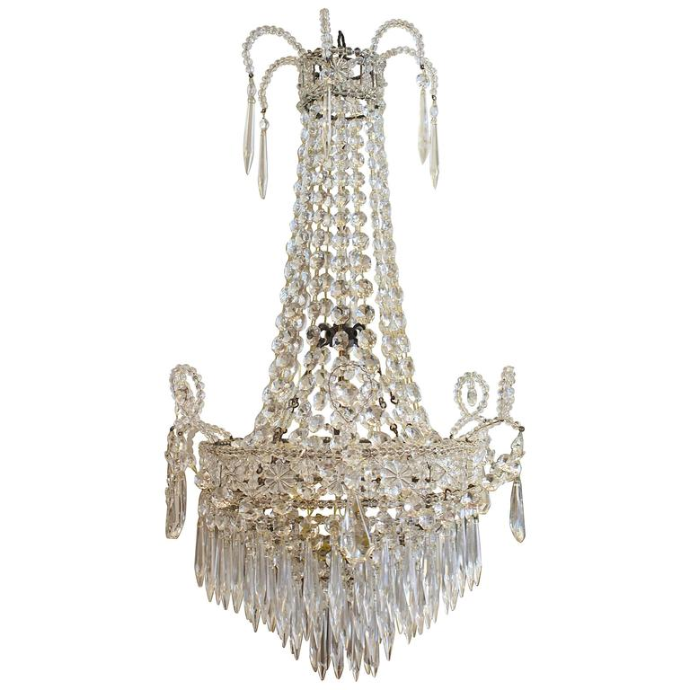 Early 20th Century Empire Style French Crystal Chandelier For Sale