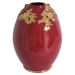 Midcentury Red Ceramic Vase with Gold Leaf Geometric Accents, Spain, 1960s