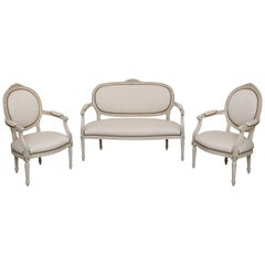Antique Swedish Settee and Pair Armchairs Painted, Late 19th Century