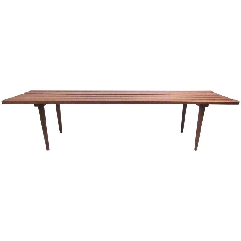 Long Vintage Modern Slat Bench