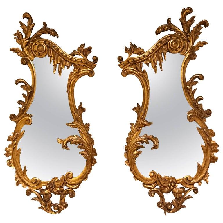 Pair of small italian rococo style wall mirrors for sale for Small wall mirrors for sale