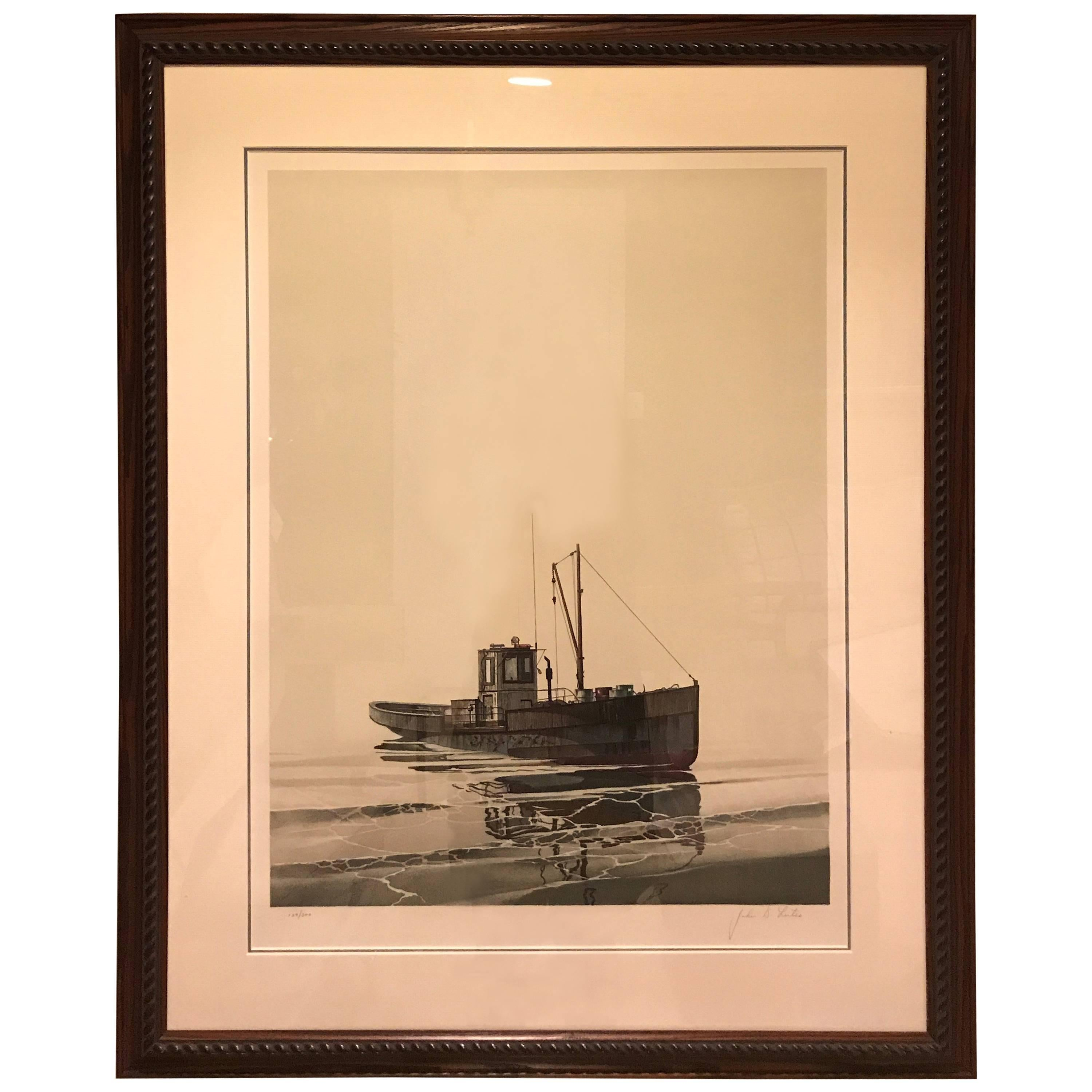 Litho of Fishing Boat Signed John D. Lutes and Numbered 129/300