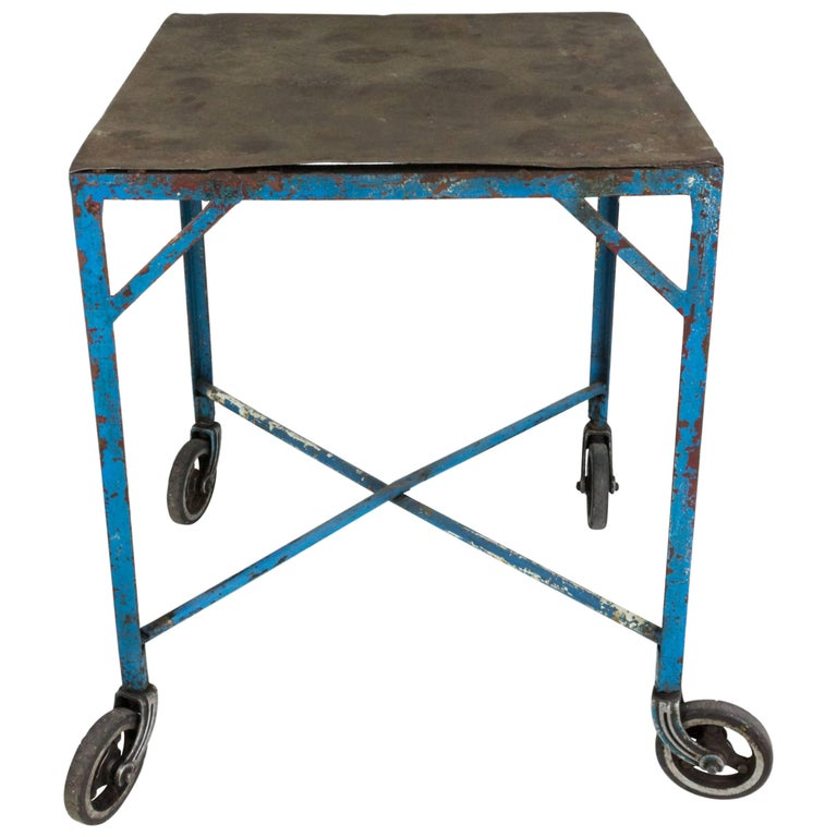 Industrial Coffee Table On Wheels At 1stdibs: French Industrial Table On Casters For Sale At 1stdibs