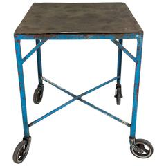 French Industrial Table on Casters