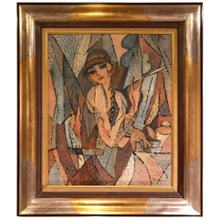 Painting by Joseph Fontaine. American, 1929-2004 of a Woman