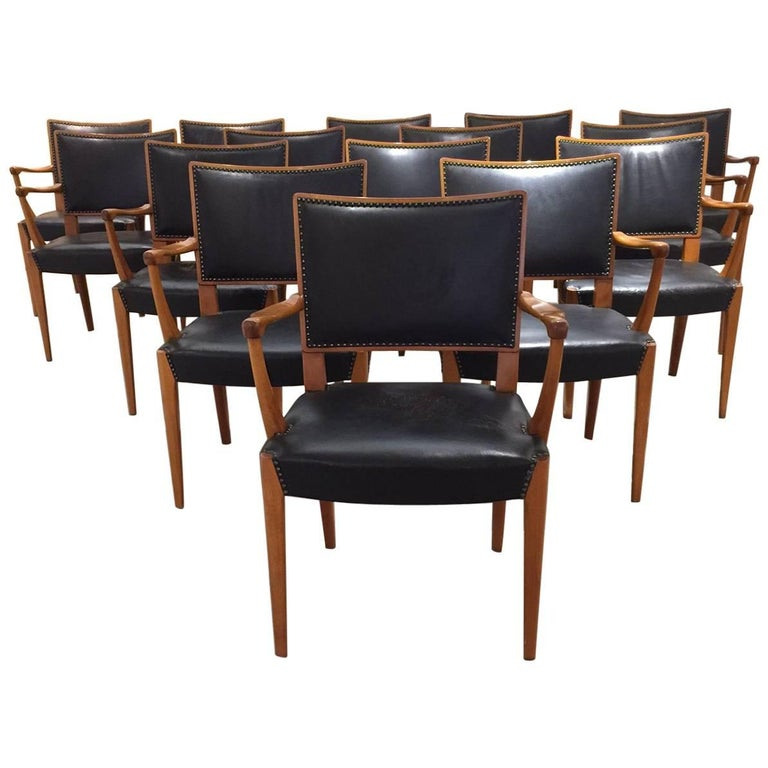 Set of 15 Armchairs Attributed to Axel Einar Hjorth for Sweden, circa 1940