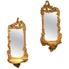 Pair of Italian Diminutive Giltwood Mirror Back Wall Shelves