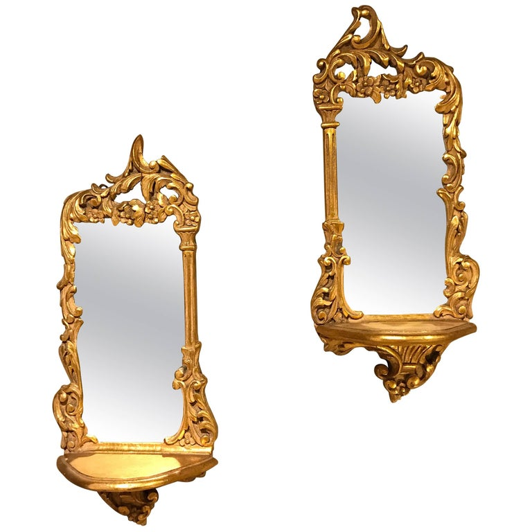 Pair Of Italian Diminutive Giltwood Mirror Back Wall Shelves
