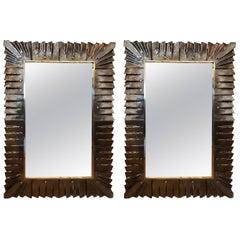 Pair of Decorative Murano Glass Amber Mirrors