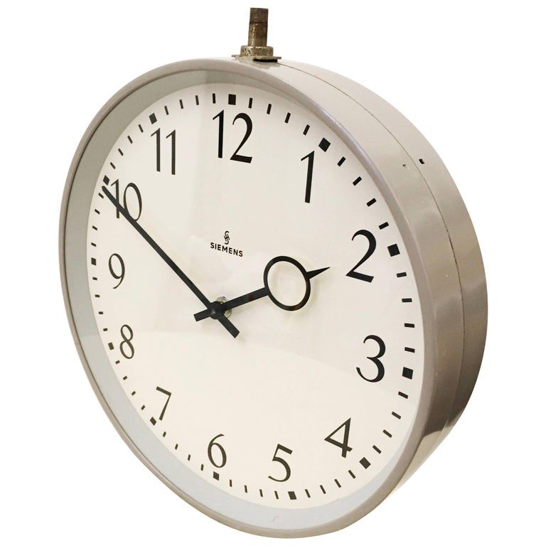 Siemens Halske Double Faced Train Station Factory Clock