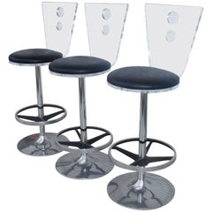 Three Modern Lucite Chrome and Vinyl Barstools H Studios