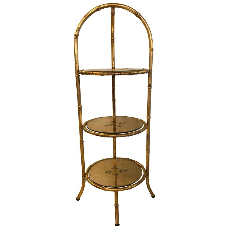 Hollywood Regency Style Faux Bamboo Églomisé Three-Tier Ètagerè or Candle Stand For Sale