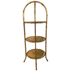 Hollywood Regency Style Faux Bamboo Églomisé Three-Tier Ètagerè or Candle Stand
