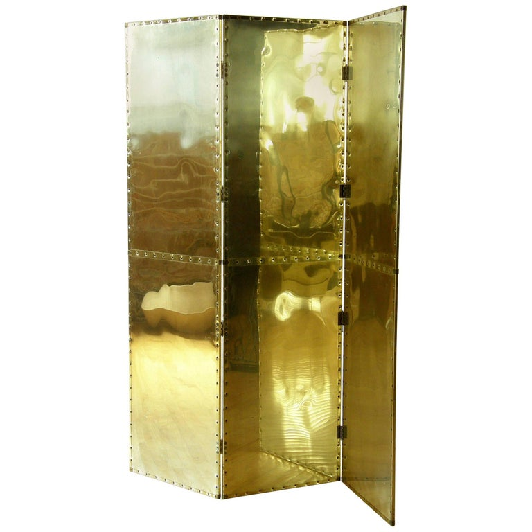 Riveted Brass Folding Screen For Sale