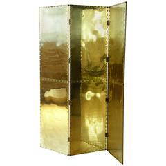 Riveted Brass Folding Screen