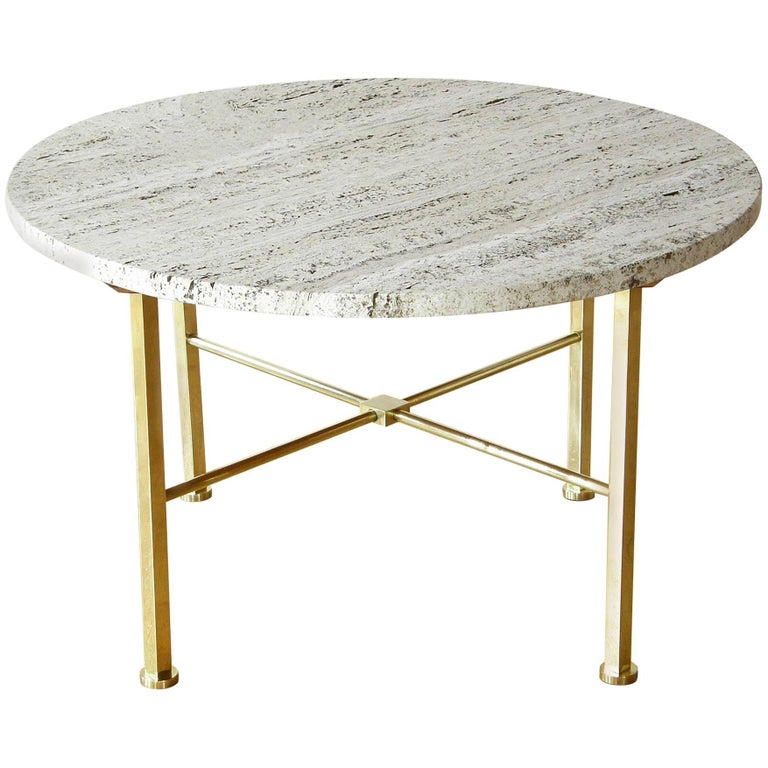 Frederick C. Boger Brass And Travertine Coffee Table For