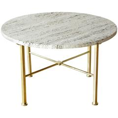 Frederick C. Boger Brass and Travertine Coffee Table