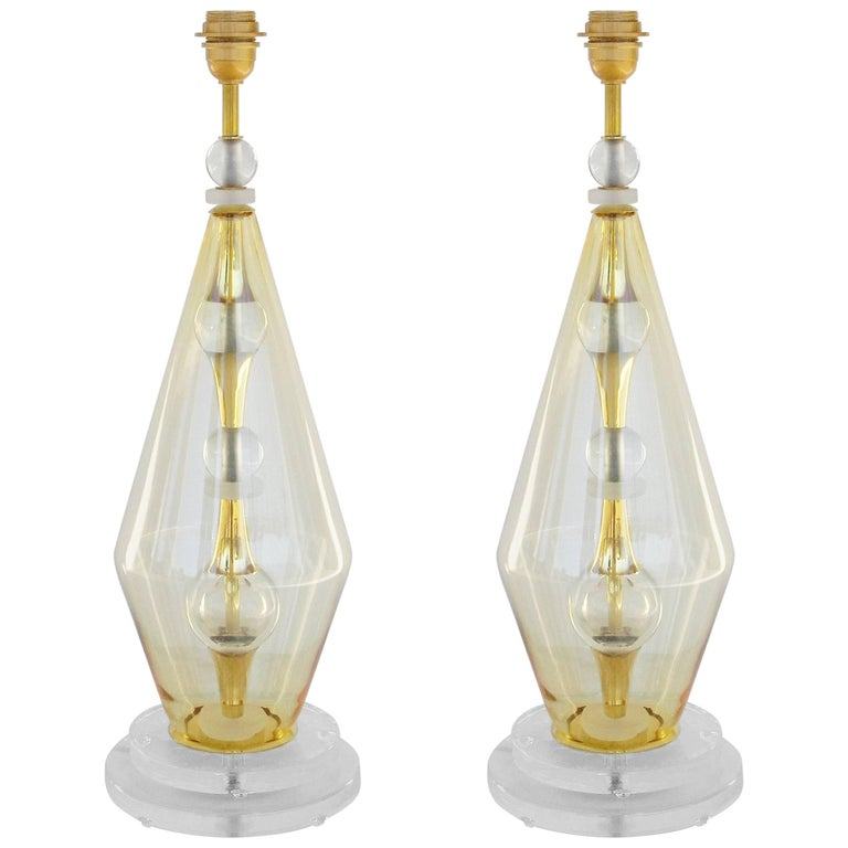 Pair of Italian Vintage Murano Glass Table Lamps 1