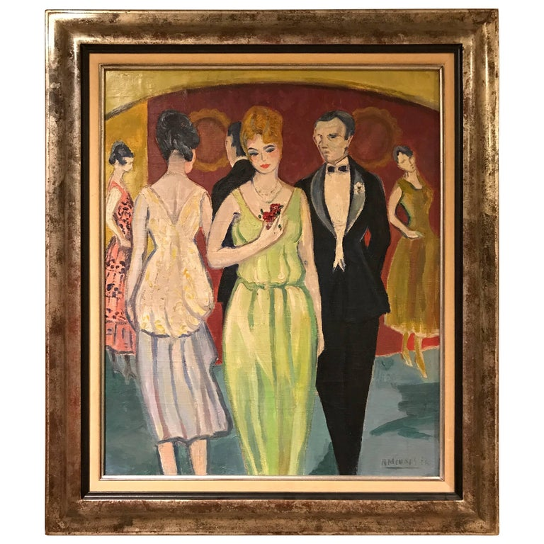 French Oil on Canvas by Rene Mendes of the Ballroom