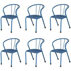 Set of Six Blue French Metal Side Chairs