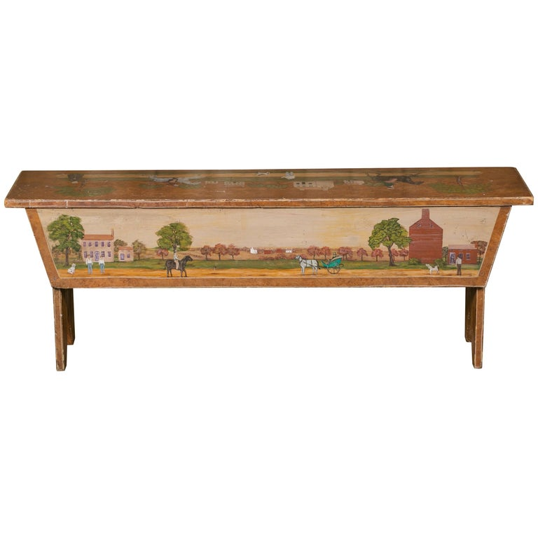 Antique Wooden Bench Hand Painted By Artist Lew Hudnall Circa 1890 At 1stdibs