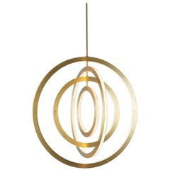 Paul Loebach for Roll & Hill Brushed Brass Vertical Halo Chandelier, Four-Ring