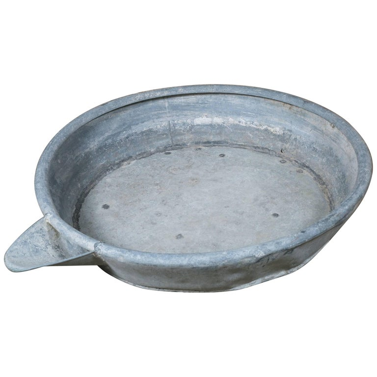 Oversized Vintage Industrial Zinc Bowl with Spout 1