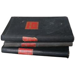 Set of Three Black and Red Ledgers from Belgium, circa 1930s-1960s