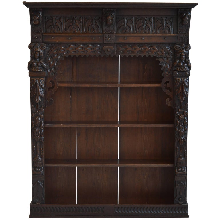 Victorian Antique Oak Wall Cabinet 19th Century English