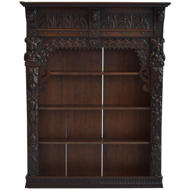 Attirant Victorian Antique Oak Wall Cabinet, 19th Century, English For Sale