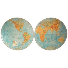 Large Antique Two-Part Wall Art World Wall Map