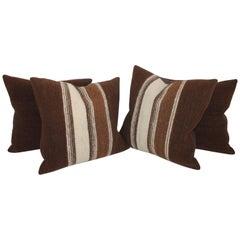 Striped Woven Wool Weaving Pillows, Pair