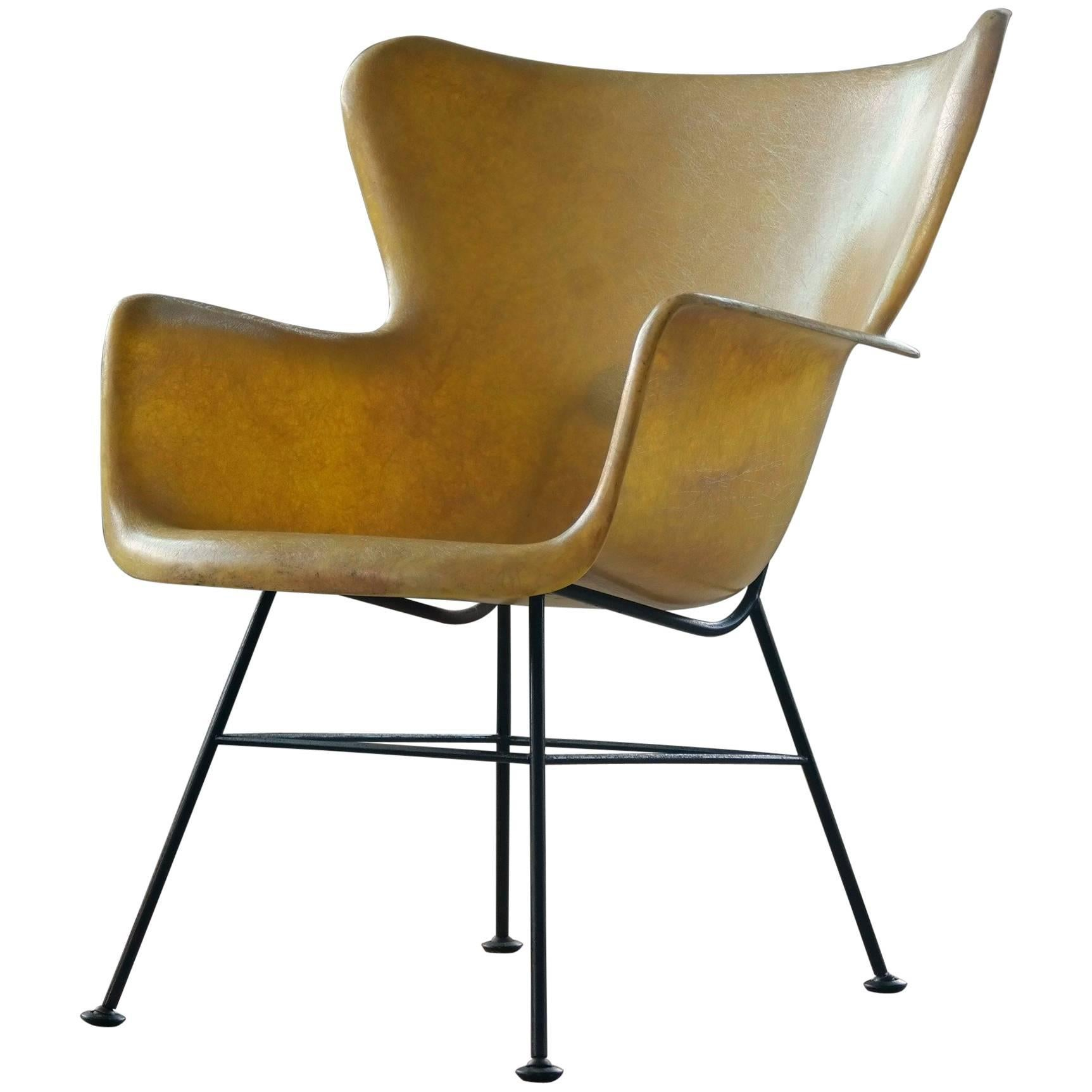 Lawrence Peabody Yellow Wingback Fiberglass Chair For Selig 1