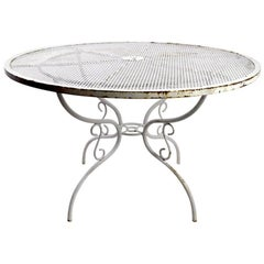 Woodard Wrought Iron Dining Table with Scroll Decorated Base