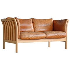 Mogens Hansen Børge Mogensen Style Two-Seat Sofa in Cognac Leather and Beechwood
