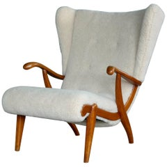 Svend Skipper Attributed Papa Bear Style Easy Chair Covered in Lambswool