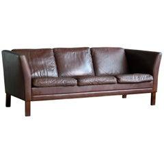 Borge Mogensen Style Three-Seat Sofa in Chocolate Leather by Mogens Hansen