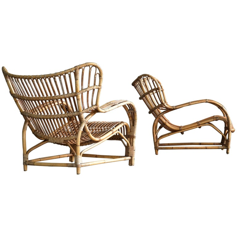 Viggo Boesen Pair of Model VB 136 Rattan Lounge Chairs for E.V.A. Nissen
