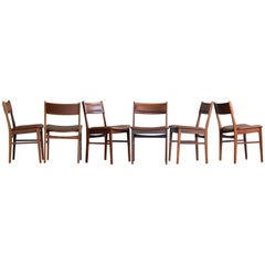 Vestervig Eriksen Six Rosewood and Leather Dining Chairs for Tromborg, Denmark